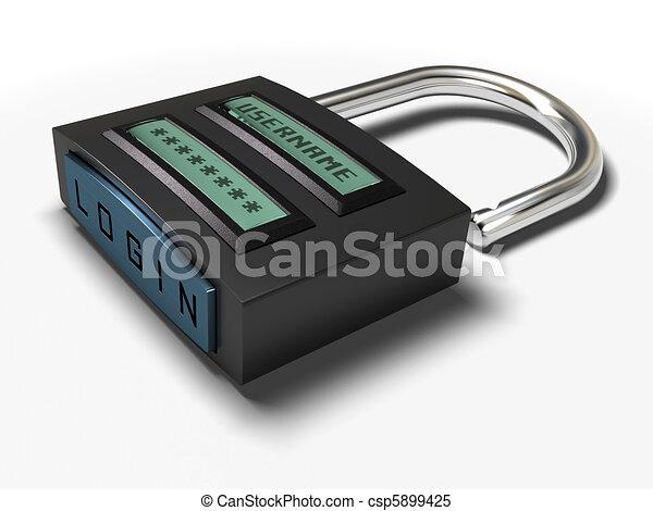 Nombre de usuario y contraseña más botón de inicio en un candado de acceso seguro, la imagen está aislada sobre el fondo blanco - csp5899425