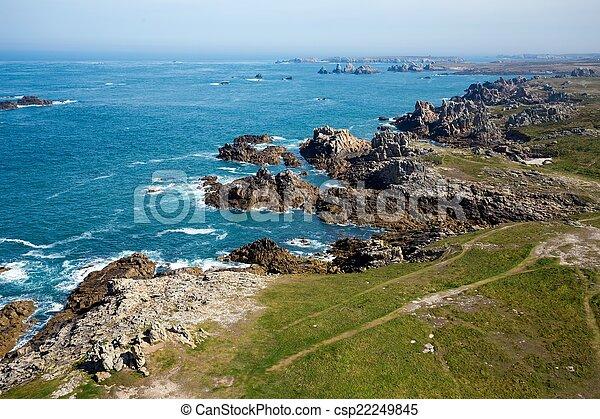 Ushant island rocky coastline - csp22249845