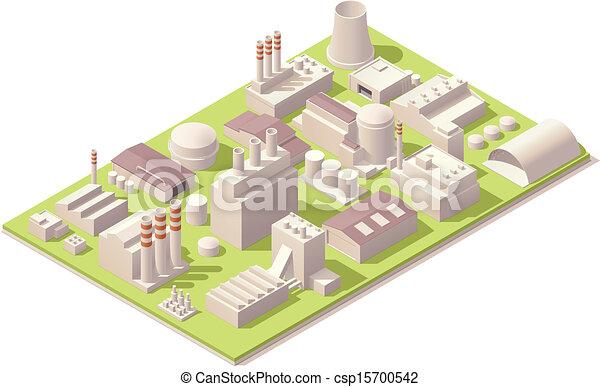 usine, bâtiments, isométrique - csp15700542