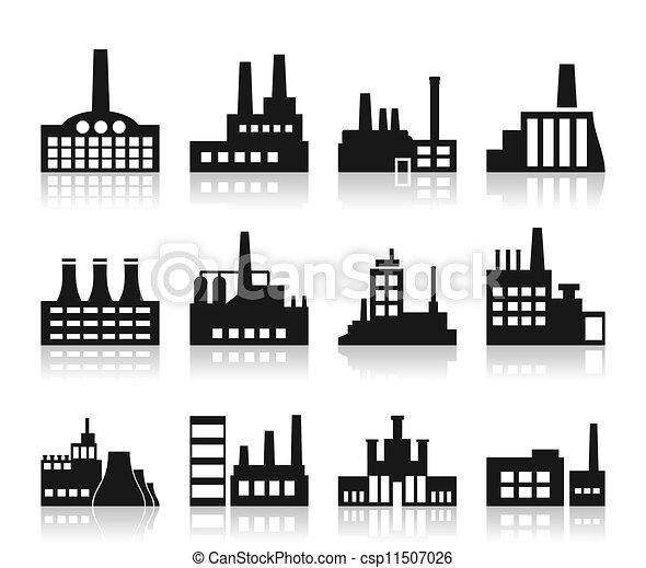 usine, icône - csp11507026