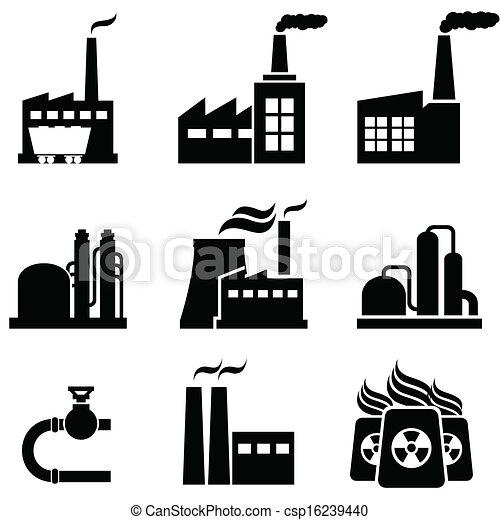 usines, bâtiments, industriel, puissance, usines - csp16239440
