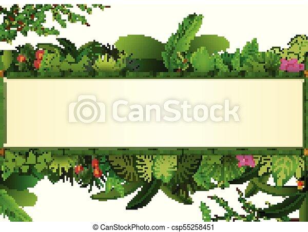 usines, cadre, espace, feuilles, text., exotique, arrière-plan., feuillage, horizontal, bannière, bambou, rectangle - csp55258451