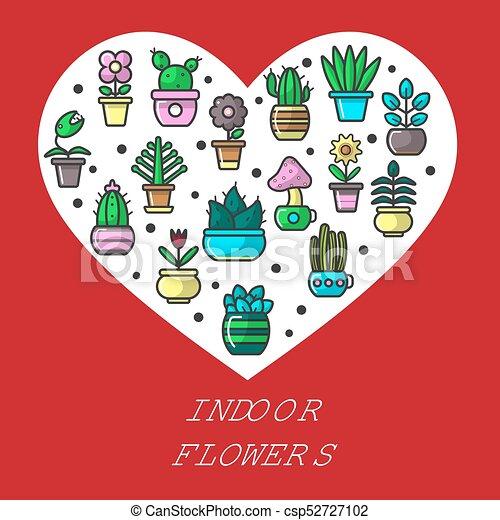 Usines Coeur Jardin Maison Interieur Vecteur Affiche Fleurs