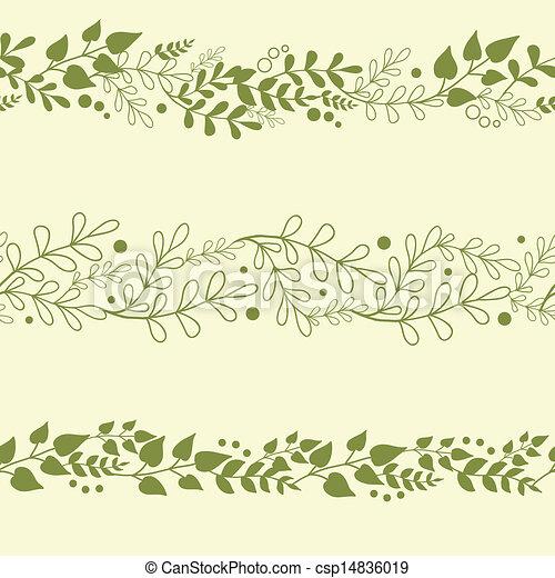 usines, ensemble, arrière-plans, trois, seamless, motifs, vert, horizontal - csp14836019