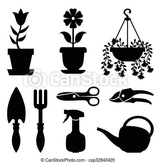 usines, ensemble, pot, leur, outils, soin - csp32840420