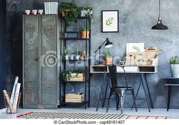 Usines industriel salle bureau vendange illustration meubles