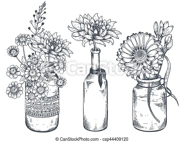 Usines Main Jars Bouquets Vases Dessiné Fleurs