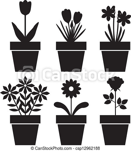 Usines Pot Ensemble Silhouettes Ensemble Pots Fleurs