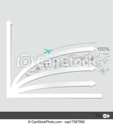 Gráfico de diseño moderno. El gráfico de negocios al éxito, puede usarse para el concepto de negocios. Ilustración de vectores. - csp17567062