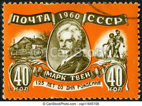 USSR - CIRCA 1960: A stamp printed in USSR shows Mark Twain (1835-1910), 125th birth anniversary, circa 1960 - csp11645158