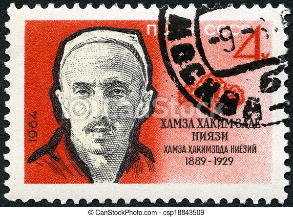 USSR - CIRCA 1964: A stamp printed in USSR shows Hamza Hakimzade Niyazi (1889-1929), Uzbek writer and composer, 75th birth Anniversary, circa 1964 - csp18843509