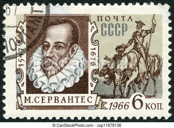 USSR - CIRCA 1966: A stamp printed in USSR shows portrait of Miguel de Cervantes Saavedra (1547-1616), Spanish writer, and Don Quixote, circa 1966  - csp11878136