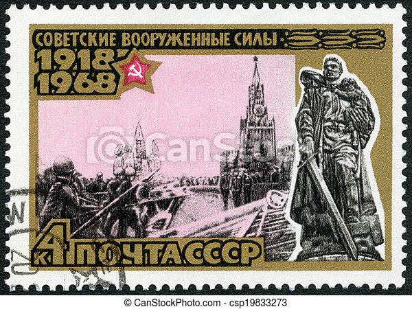 USSR - CIRCA 1968: A stamp printed in USSR shows Victory parade on Red Square, May 24, 1945, and Russian War Memorial, Berlin, series 50th anniversary of the Armed Forces of the USSR, circa 1968 - csp19833273