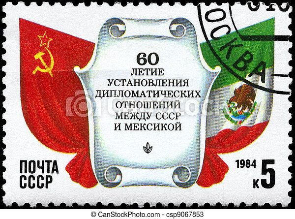 USSR - CIRCA 1984 Relations with Mexico - csp9067853