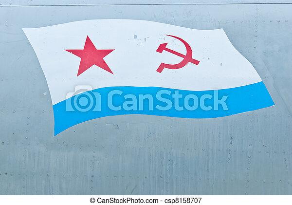 USSR flag on light blue metal background - csp8158707