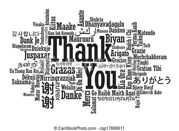 Nube de palabras de agradecimiento Multilingual - csp17699511