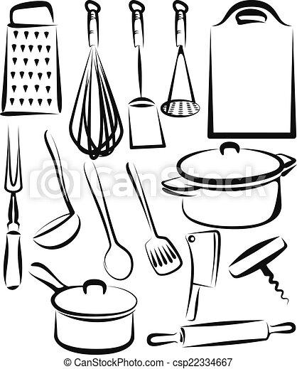 Ustensile ensemble illustration cuisine for Dessin cuisine