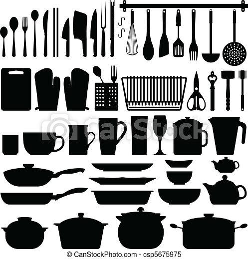 ustensiles, vecteur, silhouette, cuisine - csp5675975