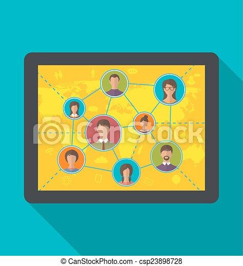 usuários, tabuleta, computador, social, amizade, rede - csp23898728