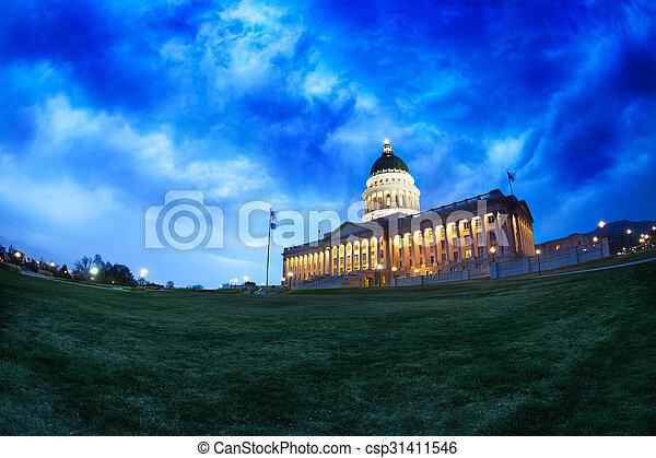Utah Capitol building at night in Salt Lake City - csp31411546