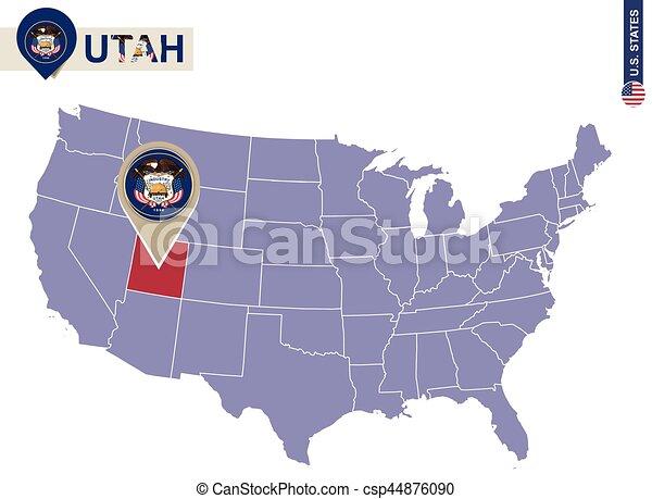 Utah state on usa map. utah flag and map. us states.