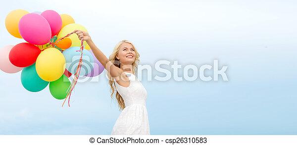 utanför, kvinna, sväller, le, färgrik - csp26310583