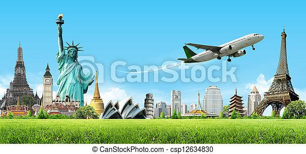 utazás, fogalom, világ - csp12634830