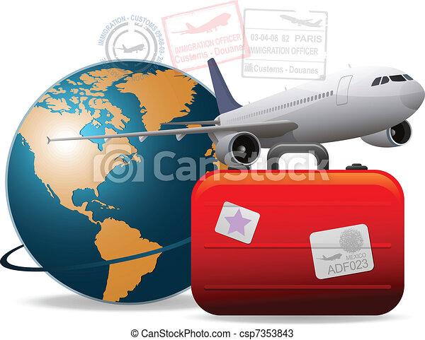 utazás, repülőgép - csp7353843
