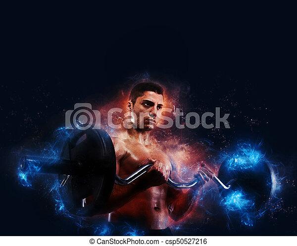 utbildning, atletisk, lätt, energi, biceps, verkan, man - csp50527216