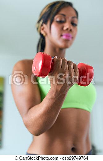 utbildning, kvinna, biceps, svart, fitness, hem, vikter - csp29749764
