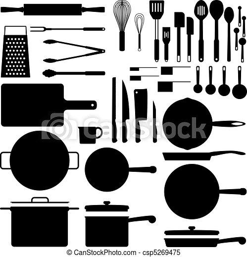 utensílio, silueta, cozinha - csp5269475
