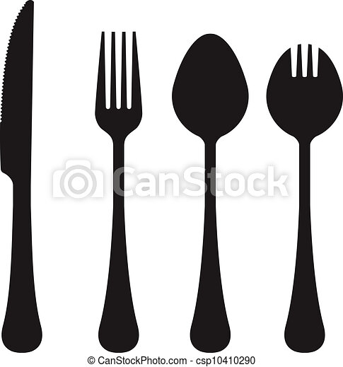 utensílios, silhuetas, vetorial, comer - csp10410290