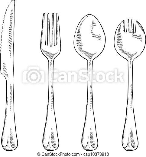 utensili, mangiare, schizzo - csp10373918