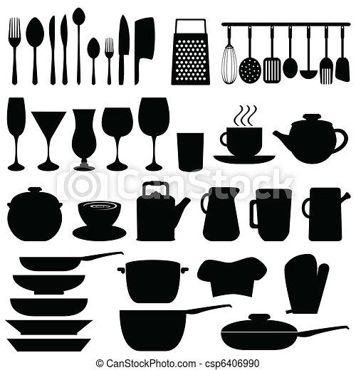 Utensili, oggetti, cucina. Utensili, oggetti, nero, cucina clipart ...