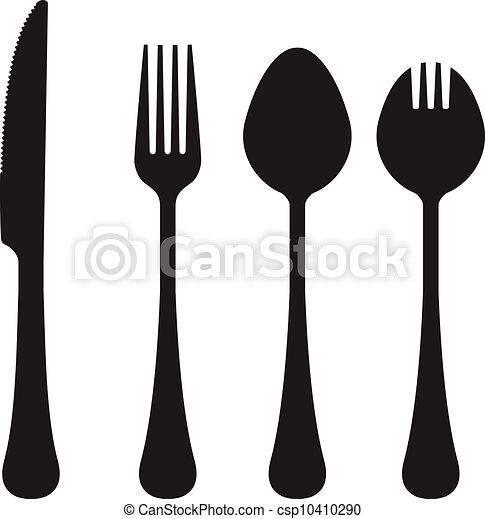 utensili, silhouette, vettore, mangiare - csp10410290
