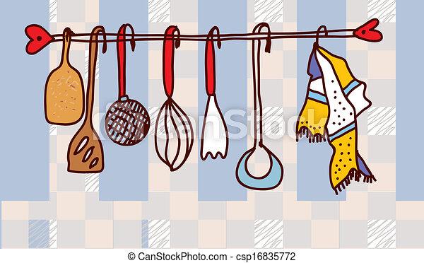 utensilios, cocina, diseño, estante, divertido