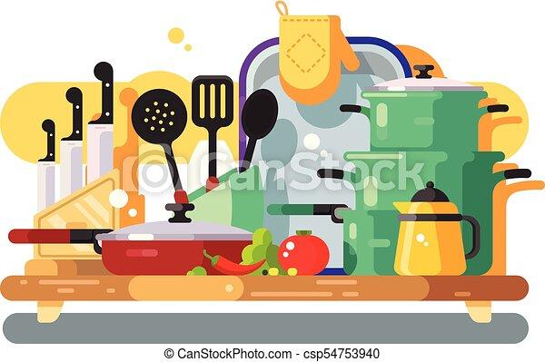 Utensilios, cocina, diseño, plano. Flat., cocina ...