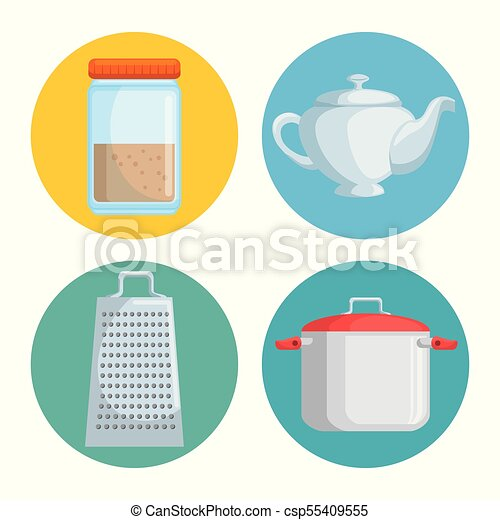Utensilios Conjunto Cocina Grafico Conjunto Ilustracion