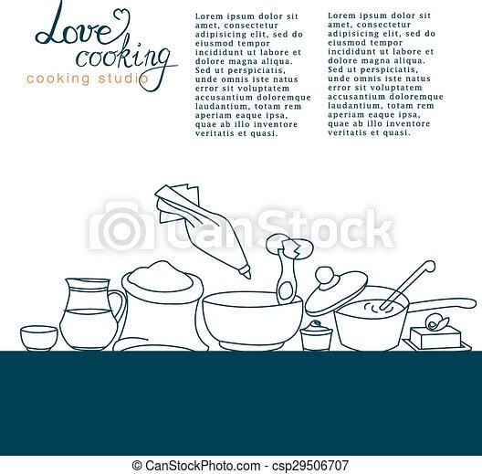 Ilustración de vectores de utensilios de cocina con firma - csp29506707