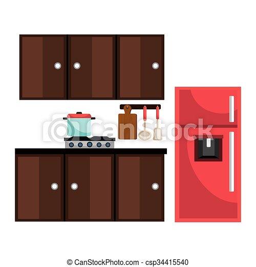 Utensilios, diseño, cocina. Gráfico, eps10, ilustración, utensilios ...