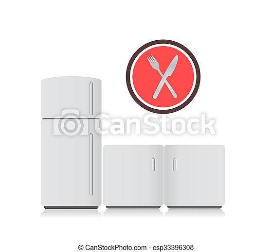 Cocina electrónica y ilustraciones utensilios - csp33396308