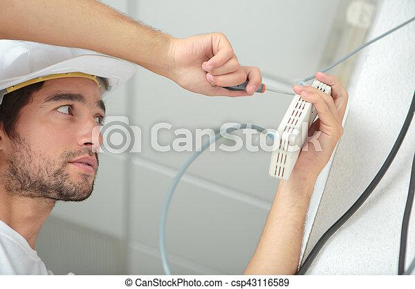 utilisation, électricien, tournevis - csp43116589