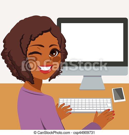utilisation, femme, informatique - csp44909731