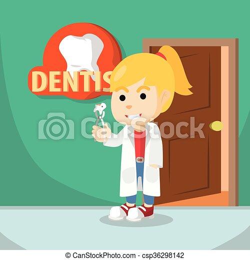 utilisation, girl, dentiste, déguisement - csp36298142