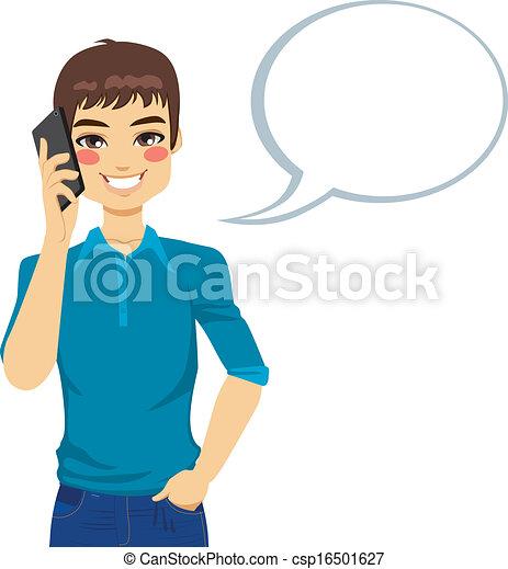 utilisation, homme parler, téléphone - csp16501627