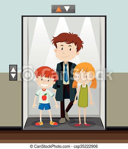 utilisation, monter, ascenseur, gens - csp35222906