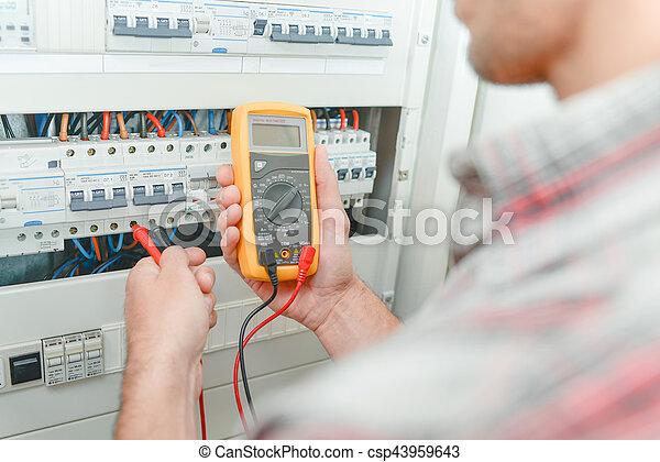 utilisation, multimètre, électricien - csp43959643