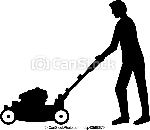 utilisation, pelouse, homme, silhouette, faucheur - csp43568679