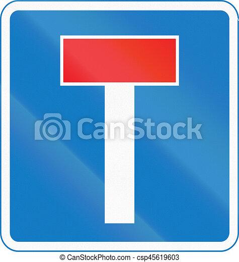 Señal de carretera usada en Chipre - No a través de la carretera - csp45619603