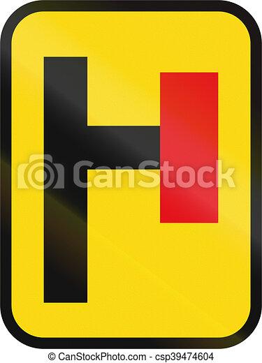 Señal de carretera usada en el país africano de Botswana, Cul-de-sac - csp39474604